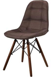 Cadeira Eames Estofada Linho Marron Base Madeira Escura - 44878 - Sun House
