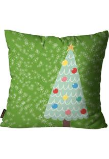 Capa Para Almofada Mdecore Natal Arvore De Natal Verde 45X45Cm