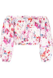Andamane Blusa Ombro A Ombro Com Estampa Floral - Rosa
