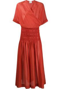 Alysi Elasticated Panel Wrap-Style Front Dress - Laranja