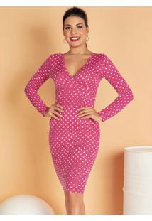 Vestido Midi Com Decote Transpassado Pink