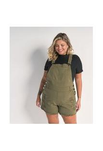 Jardineira Curta Em Sarja Curve & Plus Size | Ashua Curve E Plus Size | Verde | 50
