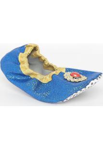 Sapatilha Em Glitter Com Pedraria- Azul Royal & Dourada