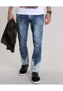 Calça Jeans Super Skinny Marmorizada Azul Médio