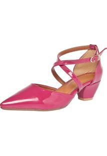 Scarpin Fiveblu Bico Fino Stripes Rosa