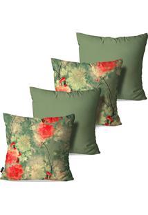 Kit Com 4 Capas Para Almofadas Pump Up Decorativas Flores Brancas E Vermelhas 45X45Cm