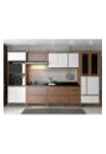 Cozinha Completa Multimóveis Com 7 Peças Calábria 5450 Nogueira/Branco