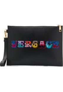 Versace Clutch Com Logo Bordado - Preto