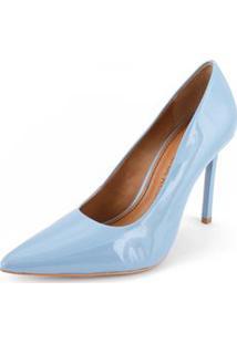 Scarpin Salto Pintado Liso Azul
