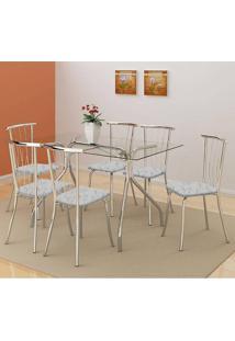 Mesa 387 Com Vidro Incolor Cromada Com 6 Cadeiras 154 Fantasia Branco Carraro