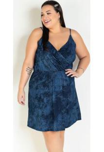 Vestido Tie Dye Azul Transpassado Plus Size
