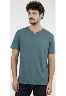 Camiseta Masculina Básica Com Botões Manga Curta Gola Careca Verde