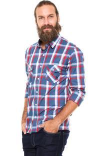 Camisa Polo Wear Xadrez Azul/Vermelho