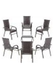 Conjunto Mesa Baixa E 6 Cadeiras Para Área Edicula Jardim Bela, Ferro E Fibra Trama Fechada Pedra Ferro