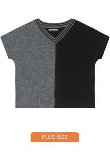 Blusa Plus Size Gola Listradacinza