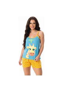 Baby Doll Serra E Mar Modas Pijama Curto Verão Girafa Azul Claro