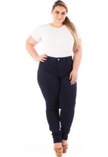 Calça Jeans Confidencial Skinny Cintura Alta Plus Size Feminina - Feminino-Azul