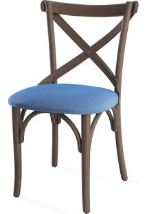 Cadeira De Madeira Tipo Restaurante Estofada Madeleine - Stain Nogueira - Tec.930 Azul Claro - 50X54,5X86 Cm