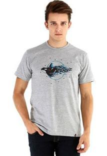 Camiseta Ouroboros Manga Curta Baleia Aquarela - Masculino-Cinza