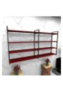 Estante Estilo Industrial Sala Aço Cor Preto 180X30X98Cm Cxlxa Cor Mdf Vermelho Modelo Ind55Vrsl