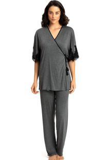 Pijama Recco C/ Robe Visco Light Renda Cinza - Tricae