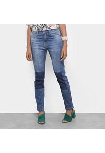 Calça Jeans Slim Carmim Reta Brighton Basic Feminina - Feminino-Azul