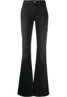 Frame Calça Jeans Flare Cintura Alta - Preto