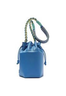 Bolsa Bucket Azul Couro Pequena | Arezzo