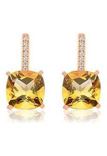 Brinco Ouro Rosé Diamante E Citrino