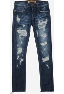 Calça John John Skinny Nova Iorque 3D Jeans Azul Masculina (Jeans Escuro, 42)