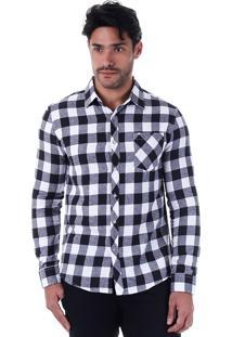 Camisa Casual Masculina Broken Rules - Bco/Pto