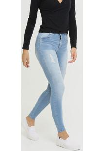 Calça Jeans Destroyed Skinny Feminina Push Up Sawary