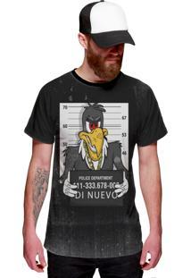 Camiseta Di Nuevo Zeca Urubu Preso Pica Pau Preta Preta