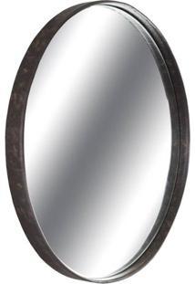 Espelho Boris Moldura Aco Revestido Em Couro Castanho 60 Cm (Larg) - 43556 - Sun House