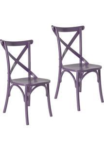 Kit 2 Cadeiras Paris Estilo Vintage Em Madeira Maciça Pintura Laca Roxo