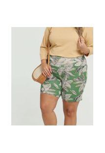 Bermuda Feminina Estampa Folhas Plus Size
