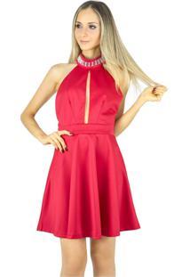 50997d6ac ... Vestido Liage Curto Liso Frente Única Gola Bordada Com Pedras  Transparentes Vermelho