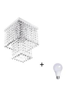 Lustre De Cristal Acrilico Marrycrilic Com Lâmpada 6000K (Br