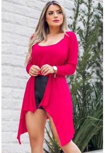 Conjunto Cardigan Regata Malha Podrinha Pink