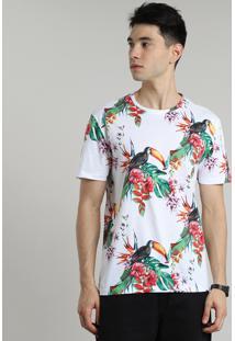 Camiseta Masculina Estampada De Tucanos Manga Curta Gola Careca Branca