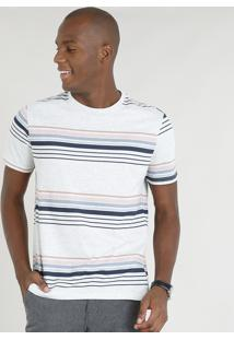Camiseta Masculina Listrada Manga Curta Gola Careca Cinza Mescla Claro