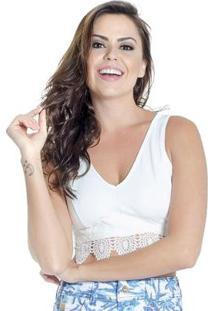 Cropped Top Guipir Zíper Decote V Colcci - Feminino-Branco