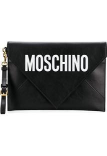 Moschino Bolsa Clutch Envelope De Couro - Preto