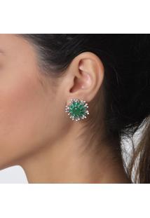 Brinco Rosa Pinhal Flor Cristais Verde Esmeralda E Zircônias Naturais