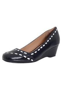 Sapato Laura Prado Confort Anabela Preto/Branco