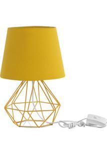 Abajur Diamante Dome Amarelo Mostarda Com Aramado Amarelo - Amarelo - Dafiti