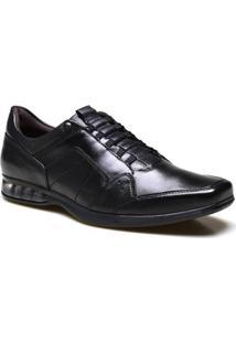 Sapato Casual Calvest Supertech Em Couro Preto Masculino - Masculino-Preto