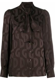 Dolce & Gabbana Blusa Com Estampa De Logo Dg - Marrom