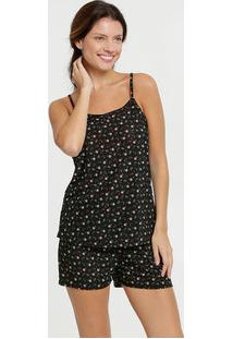 Pijama Feminino Liganete Estampa Floral Alças Finas Marisa