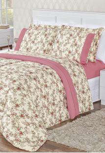 Edredom Bia Enxovais Casal Estampado Dupla Face 3 Peças Naturalle - Floral Rosa